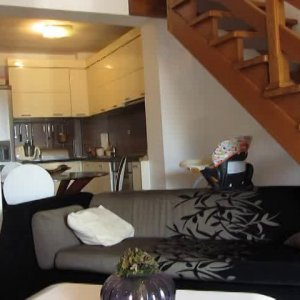 Rent in Budva 2-level apartment with two bedrooms at 550 meters from the beach (85 meters)